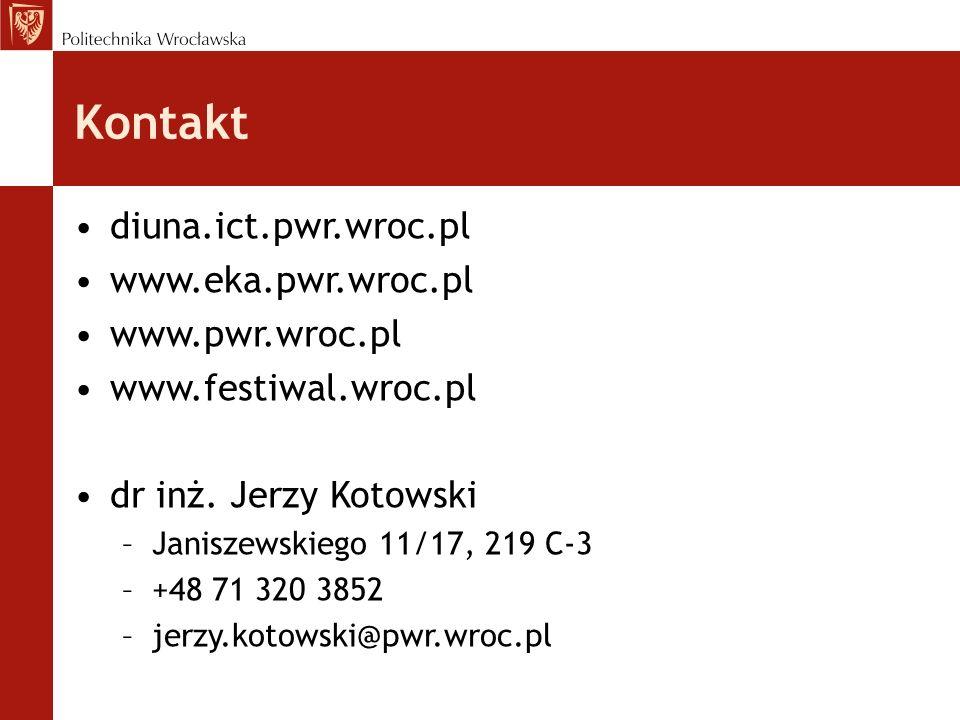 diuna.ict.pwr.wroc.pl www.eka.pwr.wroc.pl www.pwr.wroc.pl www.festiwal.wroc.pl dr inż. Jerzy Kotowski –Janiszewskiego 11/17, 219 C-3 –+48 71 320 3852