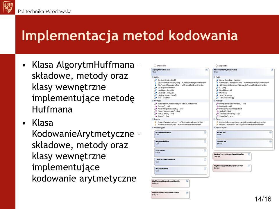 Implementacja metod kodowania Klasa AlgorytmHuffmana – składowe, metody oraz klasy wewnętrzne implementujące metodę Huffmana Klasa KodowanieArytmetycz