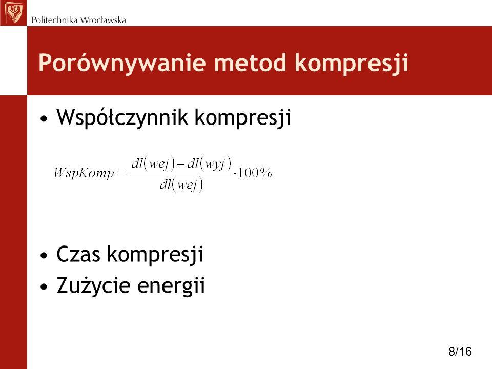 Porównywanie metod kompresji Współczynnik kompresji Czas kompresji Zużycie energii 8/16