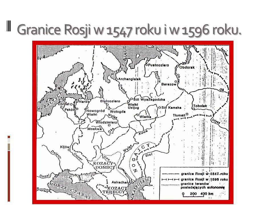 Granice Rosji w 1547 roku i w 1596 roku.