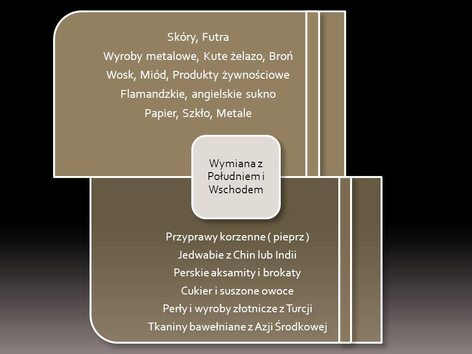 Skóry, Futra Wyroby metalowe, Kute żelazo, Broń Wosk, Miód, Produkty żywnościowe Flamandzkie, angielskie sukno Papier, Szkło, Metale Przyprawy korzenn