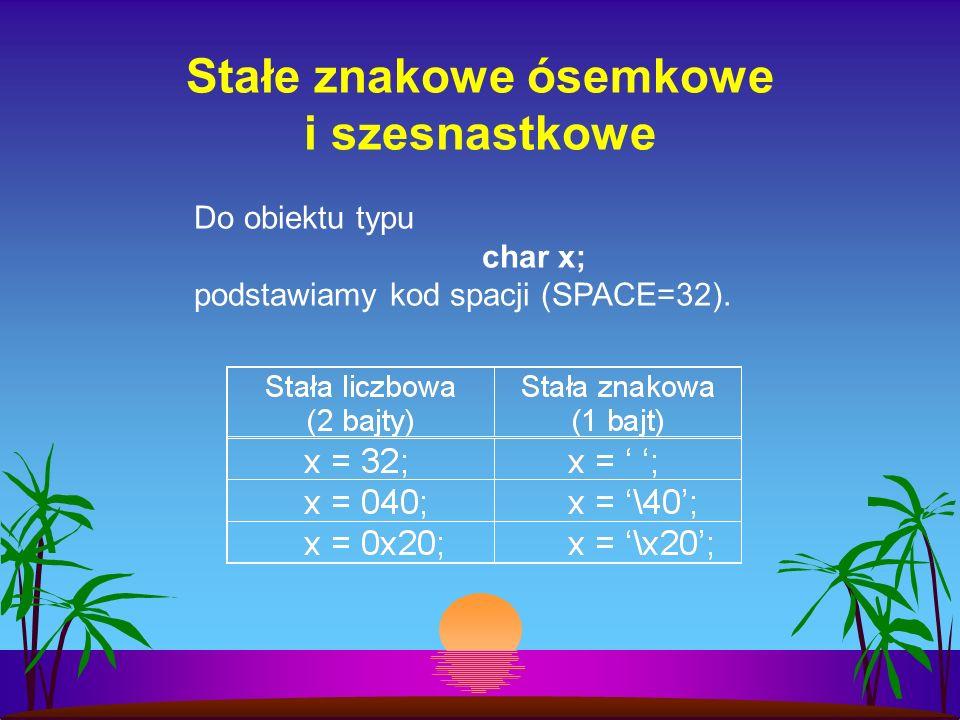 Stałe znakowe ósemkowe i szesnastkowe Do obiektu typu char x; podstawiamy kod spacji (SPACE=32).