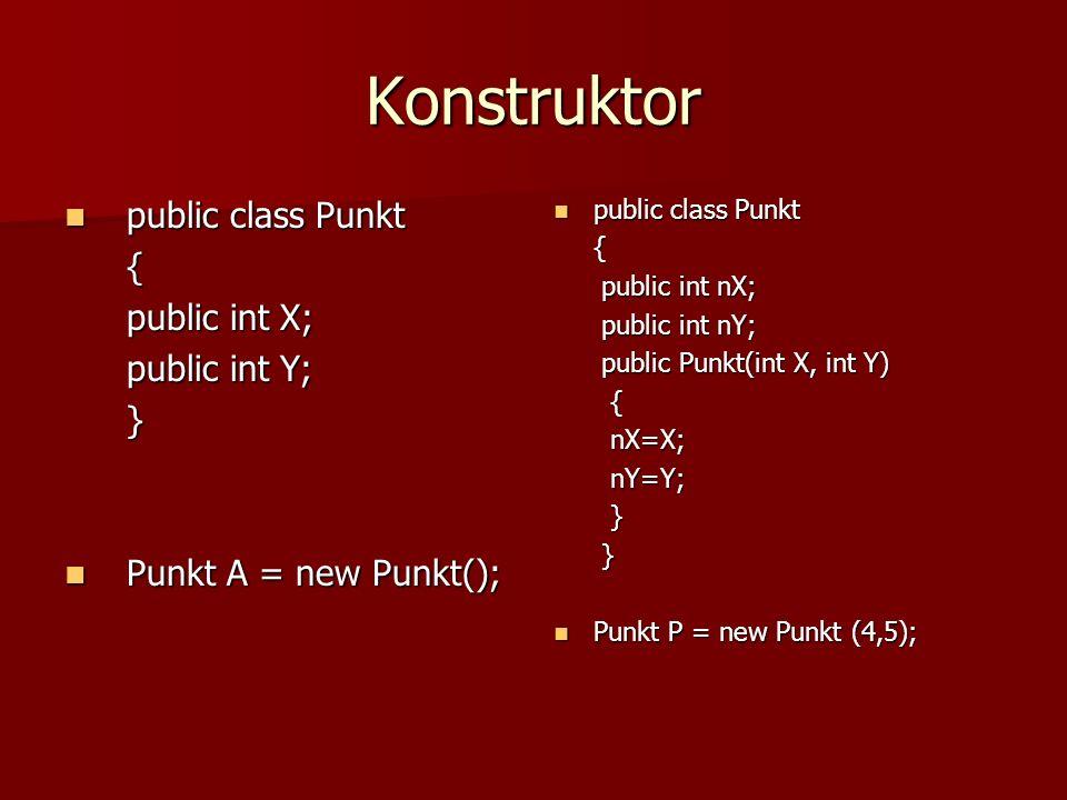 Konstruktor public class Punkt public class Punkt{ public int X; public int Y; } Punkt A = new Punkt(); Punkt A = new Punkt(); public class Punkt publ