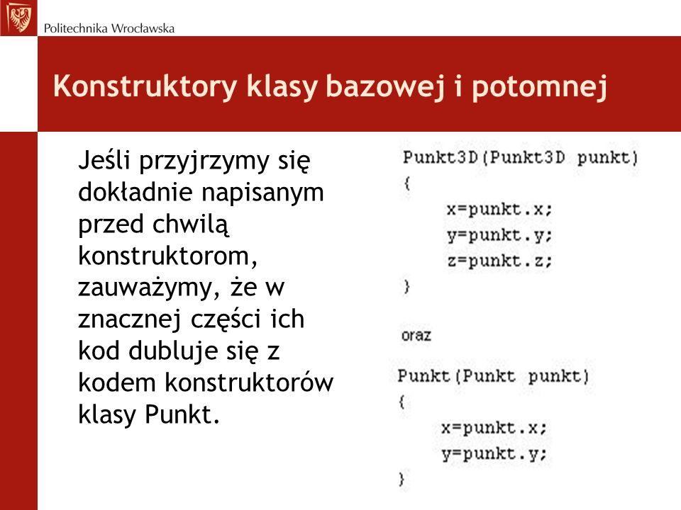 Konstruktory klasy bazowej i potomnej Jeśli przyjrzymy się dokładnie napisanym przed chwilą konstruktorom, zauważymy, że w znacznej części ich kod dubluje się z kodem konstruktorów klasy Punkt.