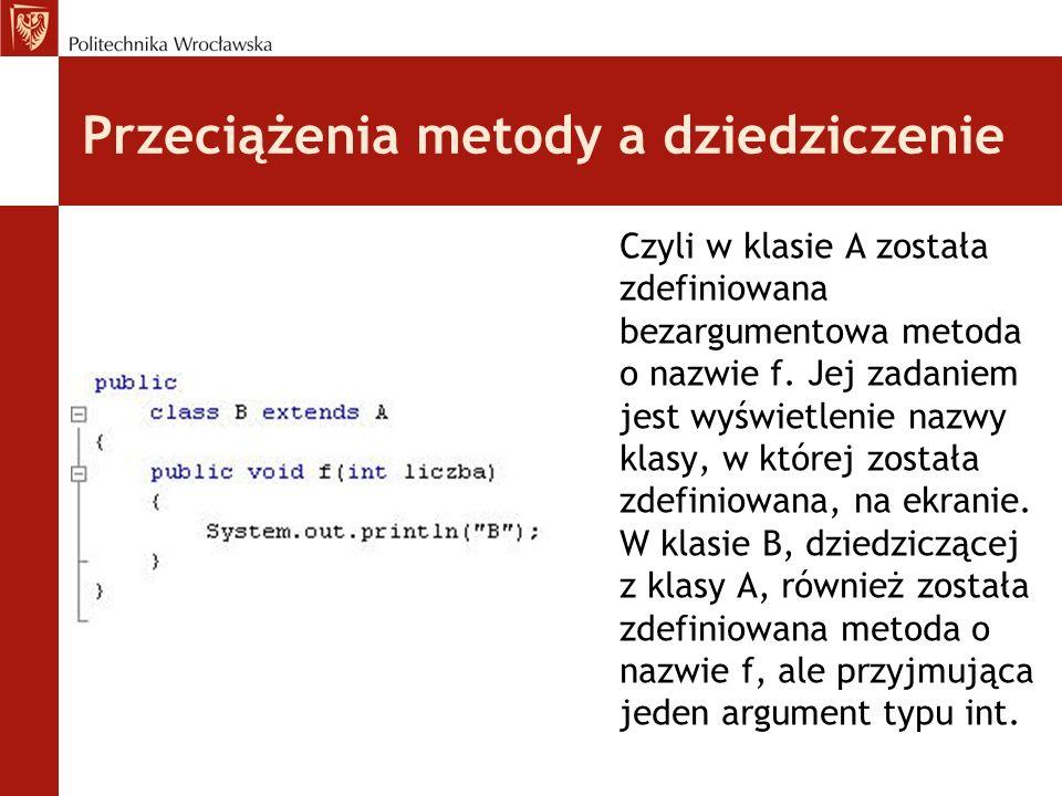Przeciążenia metody a dziedziczenie Czyli w klasie A została zdefiniowana bezargumentowa metoda o nazwie f.