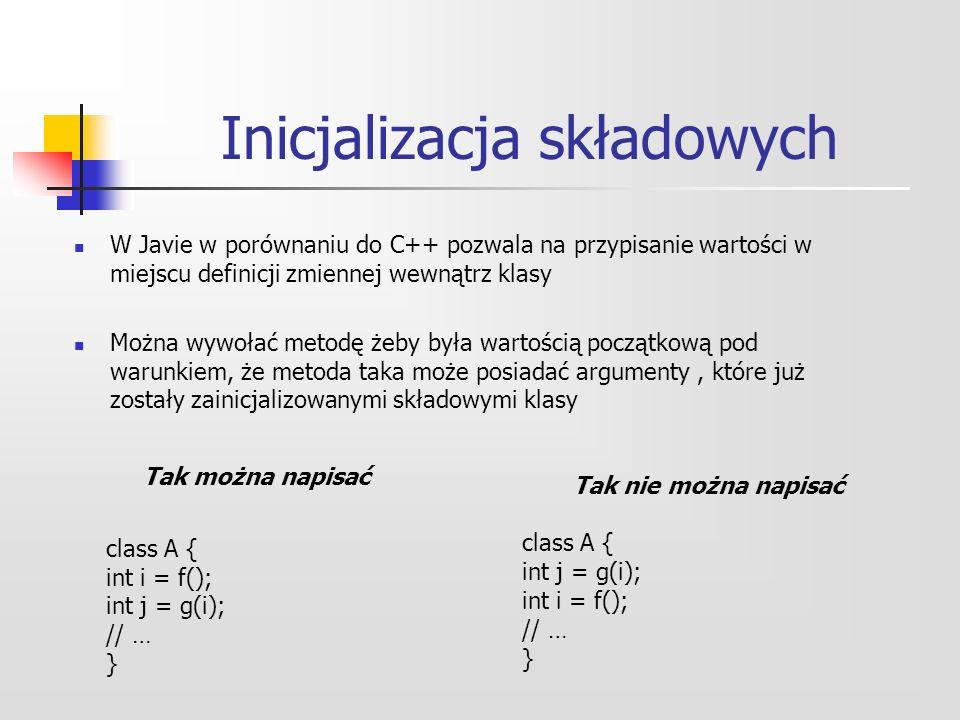 Inicjalizacja składowych W Javie w porównaniu do C++ pozwala na przypisanie wartości w miejscu definicji zmiennej wewnątrz klasy Można wywołać metodę żeby była wartością początkową pod warunkiem, że metoda taka może posiadać argumenty, które już zostały zainicjalizowanymi składowymi klasy Tak można napisać class A { int i = f(); int j = g(i); // … } Tak nie można napisać class A { int j = g(i); int i = f(); // … }