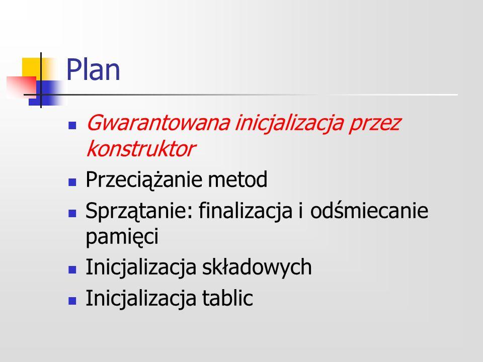 Plan Gwarantowana inicjalizacja przez konstruktor Przeciążanie metod Sprzątanie: finalizacja i odśmiecanie pamięci Inicjalizacja składowych Inicjalizacja tablic