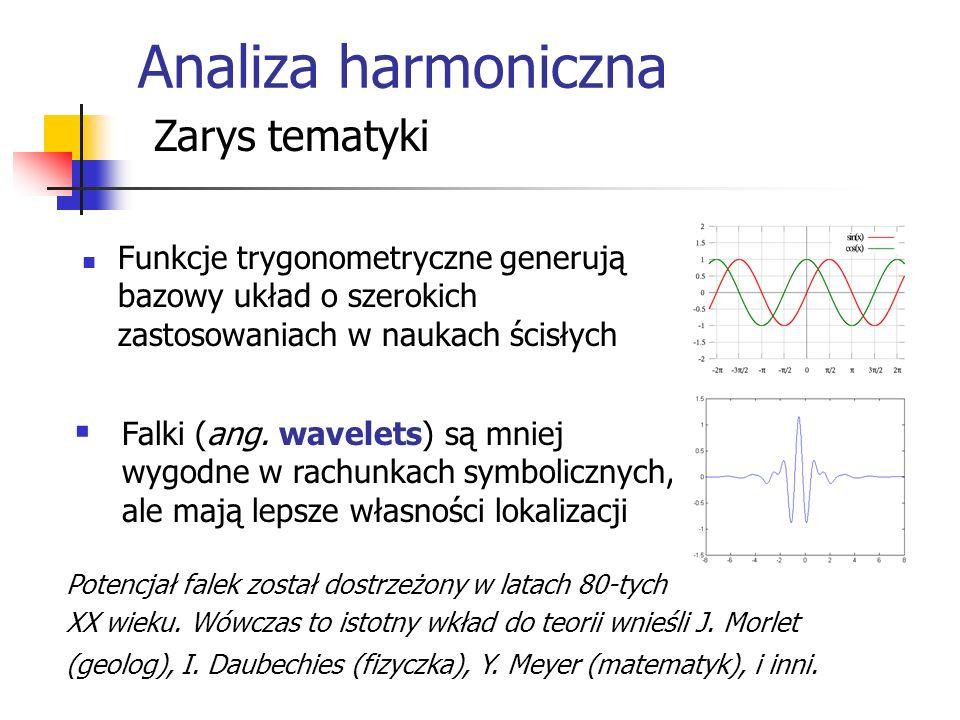 Analiza harmoniczna Zarys tematyki Funkcje trygonometryczne generują bazowy układ o szerokich zastosowaniach w naukach ścisłych Falki (ang.