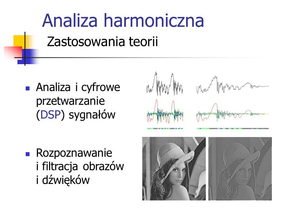 Analiza harmoniczna Zastosowania teorii Analiza i cyfrowe przetwarzanie (DSP) sygnałów Rozpoznawanie i filtracja obrazów i dźwięków