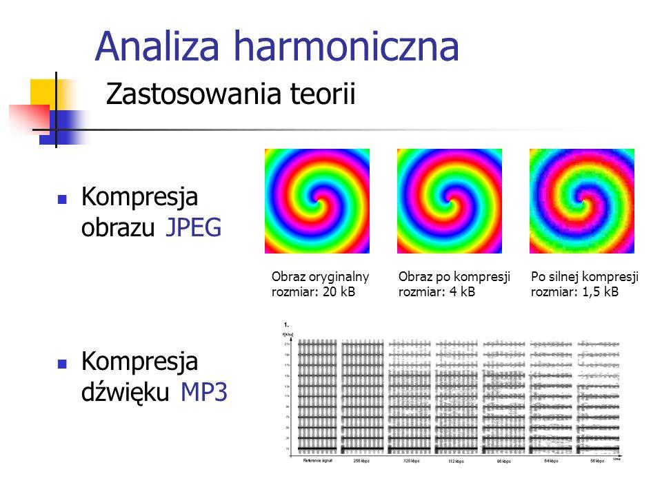 Analiza harmoniczna Zastosowania teorii Kompresja obrazu JPEG Kompresja dźwięku MP3 Obraz oryginalny rozmiar: 20 kB Obraz po kompresji rozmiar: 4 kB Po silnej kompresji rozmiar: 1,5 kB