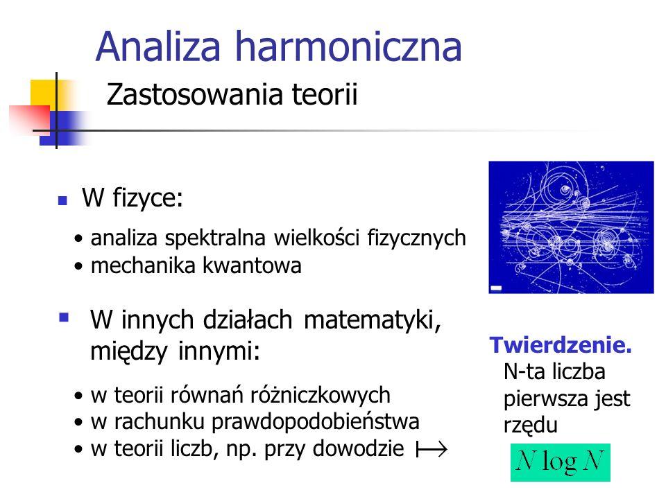 Analiza harmoniczna Zastosowania teorii W fizyce: W innych działach matematyki, między innymi: Twierdzenie.
