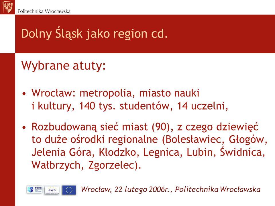 Wrocław, 22 lutego 2006r., Politechnika Wrocławska Dolny Śląsk jako region cd. Wybrane atuty: Wrocław: metropolia, miasto nauki i kultury, 140 tys. st
