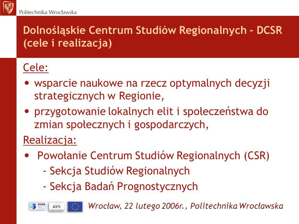 Wrocław, 22 lutego 2006r., Politechnika Wrocławska Dolnośląskie Centrum Studiów Regionalnych - DCSR (cele i realizacja) Cele: wsparcie naukowe na rzec