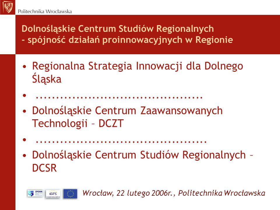 Wrocław, 22 lutego 2006r., Politechnika Wrocławska Dolnośląskie Centrum Studiów Regionalnych - spójność działań proinnowacyjnych w Regionie Regionalna