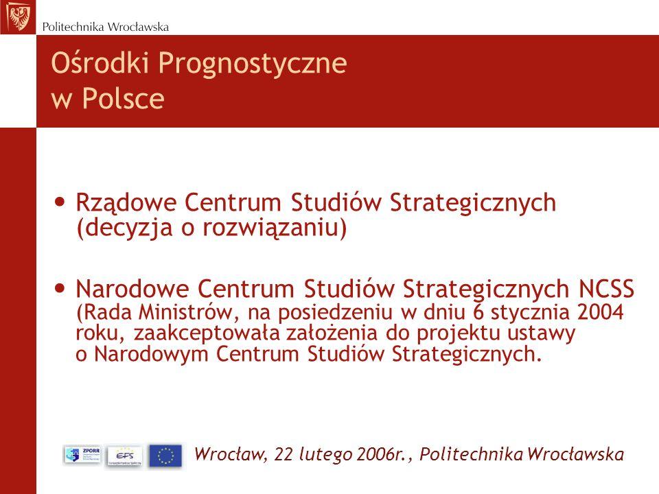 Wrocław, 22 lutego 2006r., Politechnika Wrocławska Ośrodki Prognostyczne w Polsce Rządowe Centrum Studiów Strategicznych (decyzja o rozwiązaniu) Narod