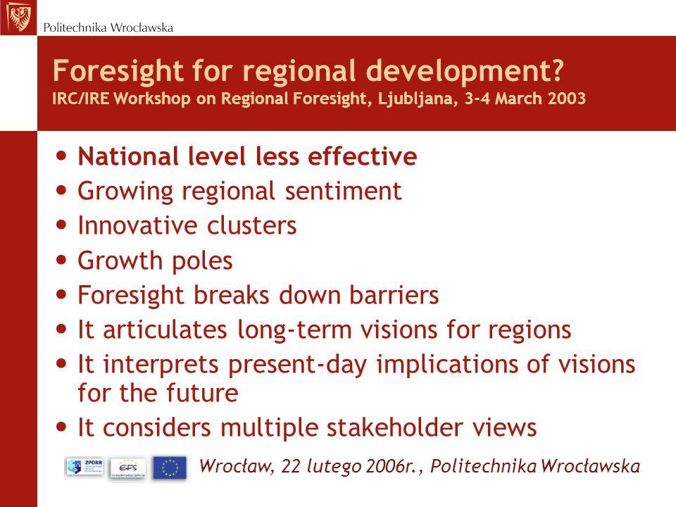 Wrocław, 22 lutego 2006r., Politechnika Wrocławska Foresight for regional development? IRC/IRE Workshop on Regional Foresight, Ljubljana, 3-4 March 20