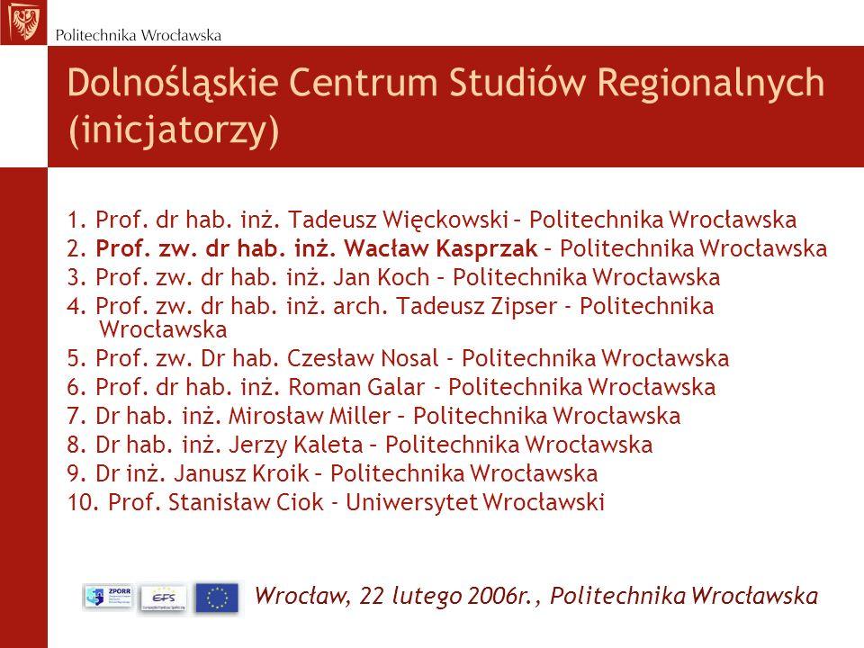 Wrocław, 22 lutego 2006r., Politechnika Wrocławska Dolnośląskie Centrum Studiów Regionalnych (inicjatorzy) 1. Prof. dr hab. inż. Tadeusz Więckowski –