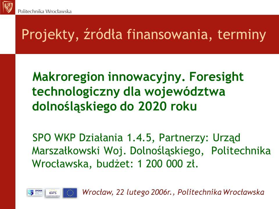 Wrocław, 22 lutego 2006r., Politechnika Wrocławska Projekty, źródła finansowania, terminy Makroregion innowacyjny. Foresight technologiczny dla wojewó
