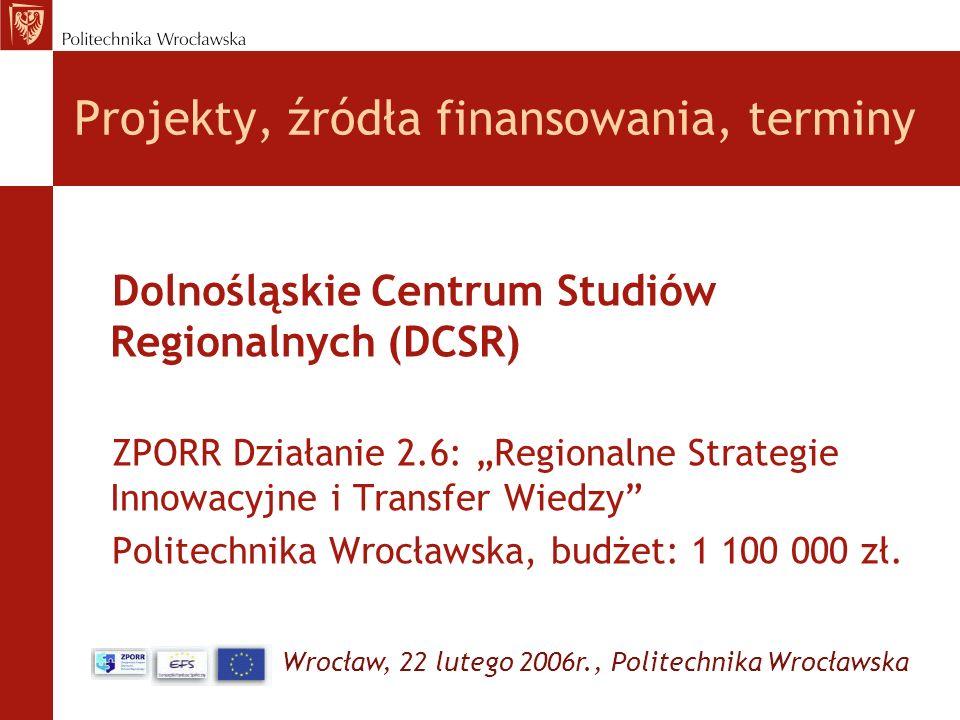 Wrocław, 22 lutego 2006r., Politechnika Wrocławska Projekty, źródła finansowania, terminy Dolnośląskie Centrum Studiów Regionalnych (DCSR) ZPORR Dział