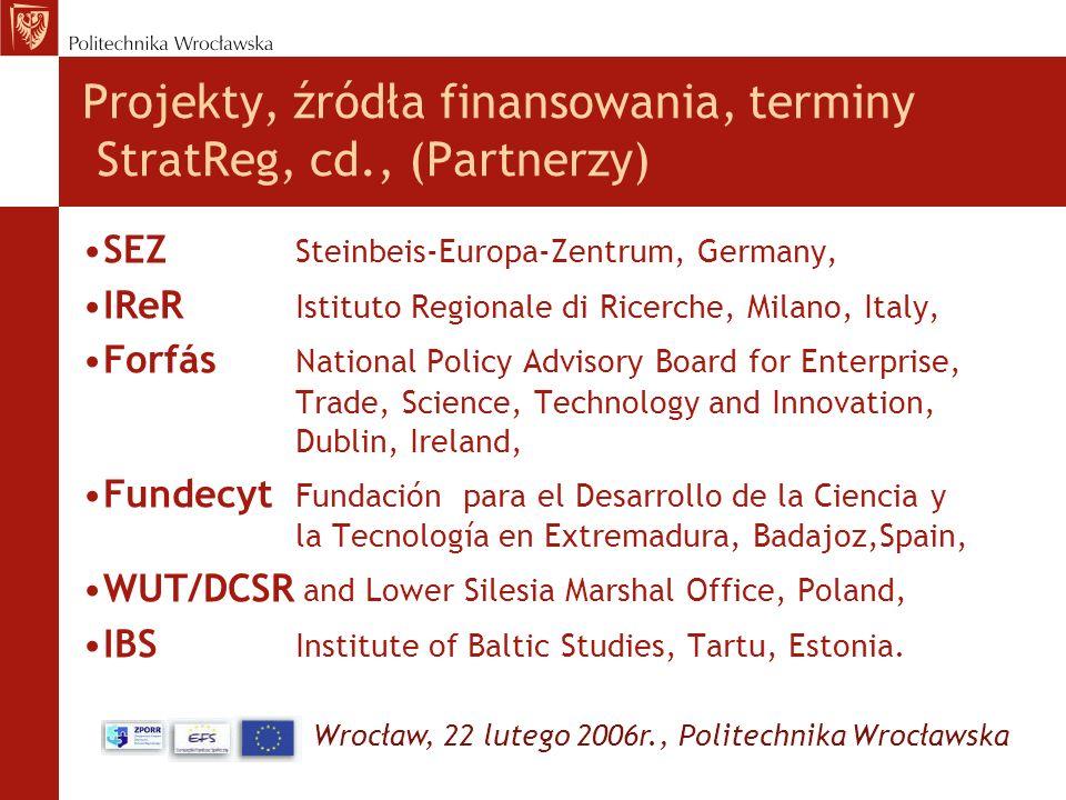 Wrocław, 22 lutego 2006r., Politechnika Wrocławska Projekty, źródła finansowania, terminy StratReg, cd., (Partnerzy) SEZ Steinbeis-Europa-Zentrum, Ger