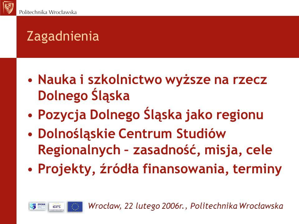 Wrocław, 22 lutego 2006r., Politechnika Wrocławska Zagadnienia Nauka i szkolnictwo wyższe na rzecz Dolnego Śląska Pozycja Dolnego Śląska jako regionu
