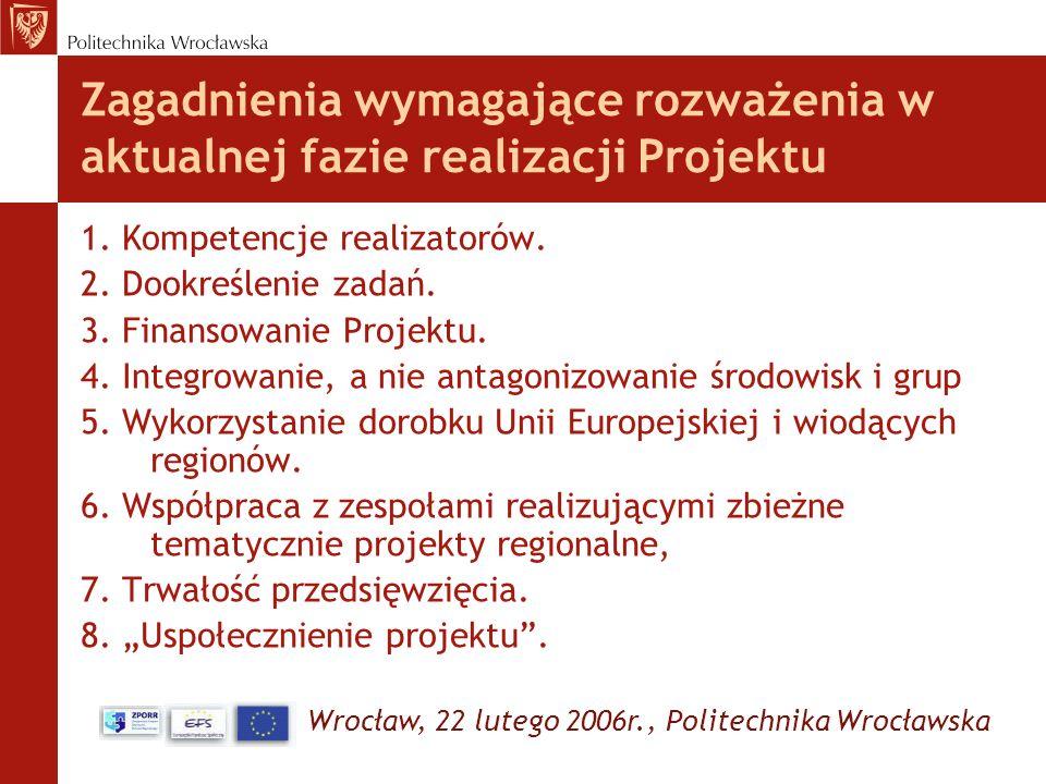 Wrocław, 22 lutego 2006r., Politechnika Wrocławska Zagadnienia wymagające rozważenia w aktualnej fazie realizacji Projektu 1. Kompetencje realizatorów