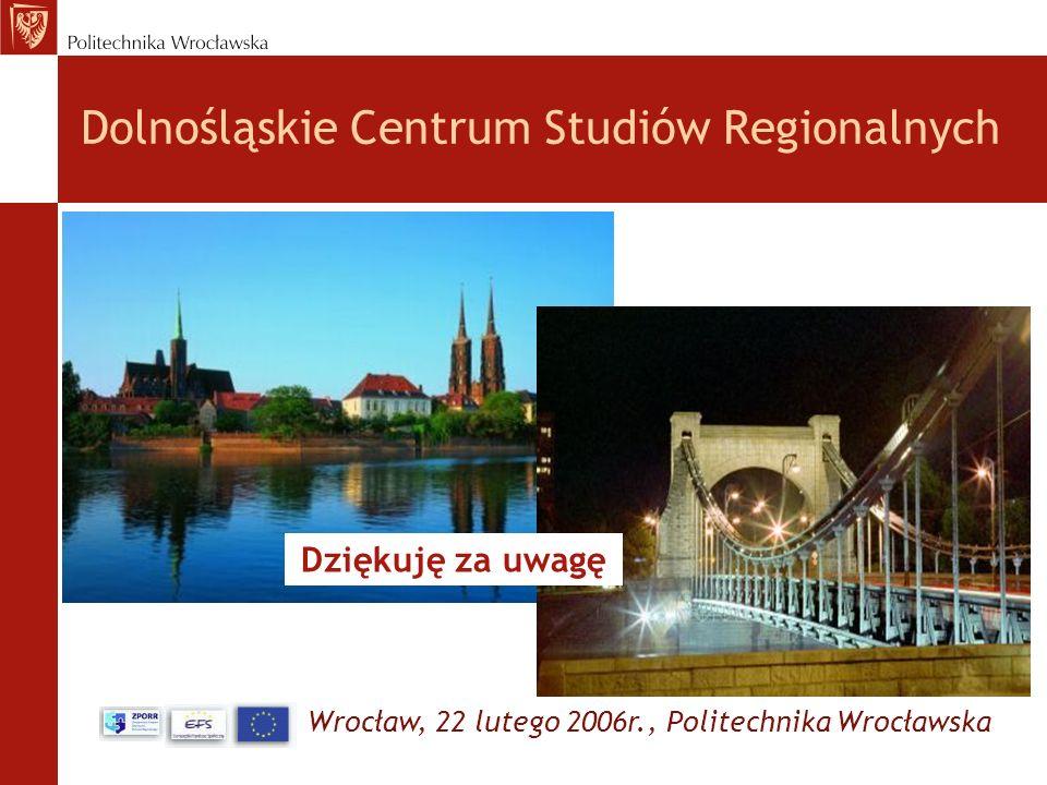 Wrocław, 22 lutego 2006r., Politechnika Wrocławska Dolnośląskie Centrum Studiów Regionalnych Dziękuję za uwagę