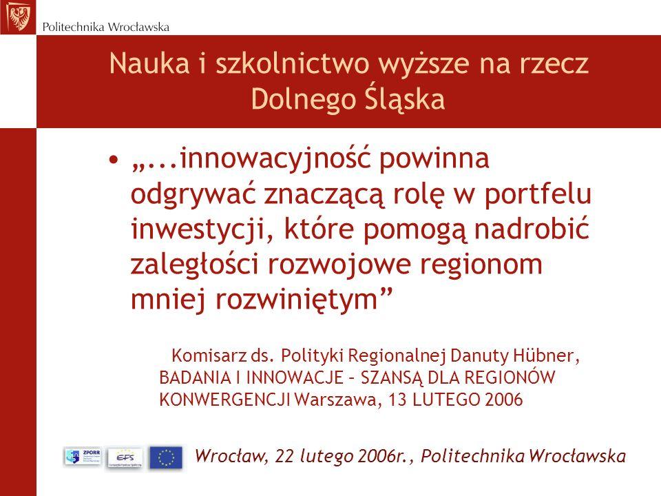 Wrocław, 22 lutego 2006r., Politechnika Wrocławska Projekty, źródła finansowania, terminy Dolnośląskie Centrum Studiów Regionalnych (DCSR) ZPORR Działanie 2.6: Regionalne Strategie Innowacyjne i Transfer Wiedzy Politechnika Wrocławska, budżet: 1 100 000 zł.
