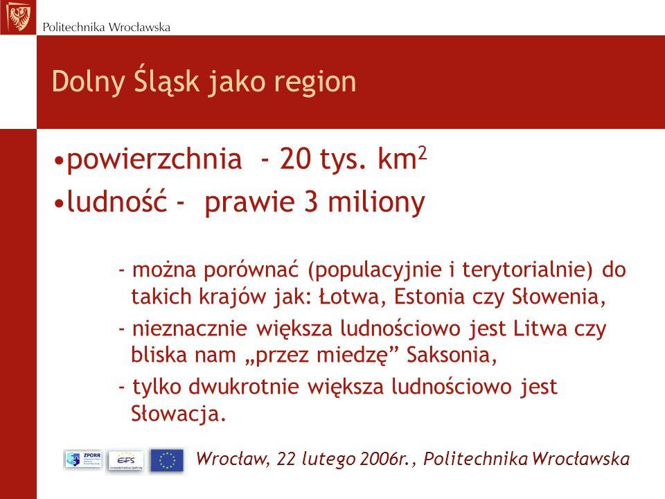 Wrocław, 22 lutego 2006r., Politechnika Wrocławska Dolny Śląsk jako region powierzchnia - 20 tys. km 2 ludność - prawie 3 miliony - można porównać (po