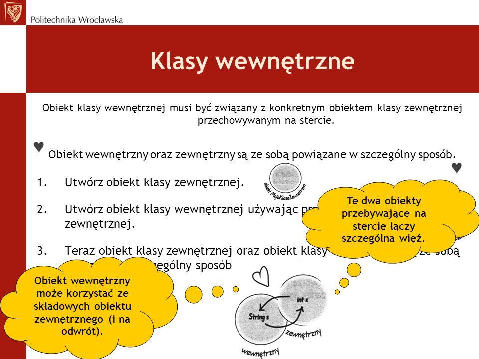 Klasy wewnętrzne Obiekt klasy wewnętrznej musi być związany z konkretnym obiektem klasy zewnętrznej przechowywanym na stercie. Obiekt wewnętrzny oraz