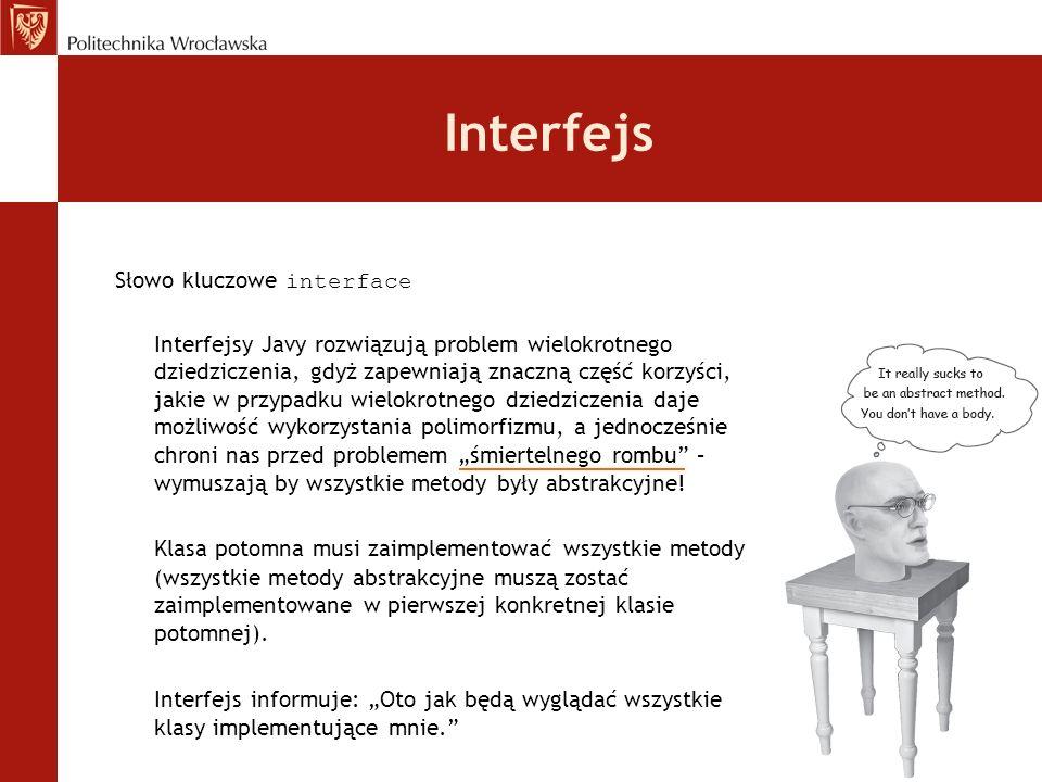 Interfejs Słowo kluczowe interface Interfejsy Javy rozwiązują problem wielokrotnego dziedziczenia, gdyż zapewniają znaczną część korzyści, jakie w prz