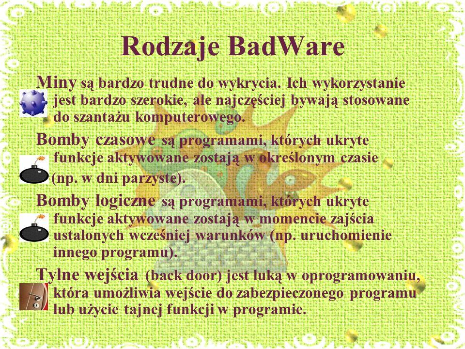 Rodzaje BadWare Miny są bardzo trudne do wykrycia. Ich wykorzystanie jest bardzo szerokie, ale najczęściej bywają stosowane do szantażu komputerowego.