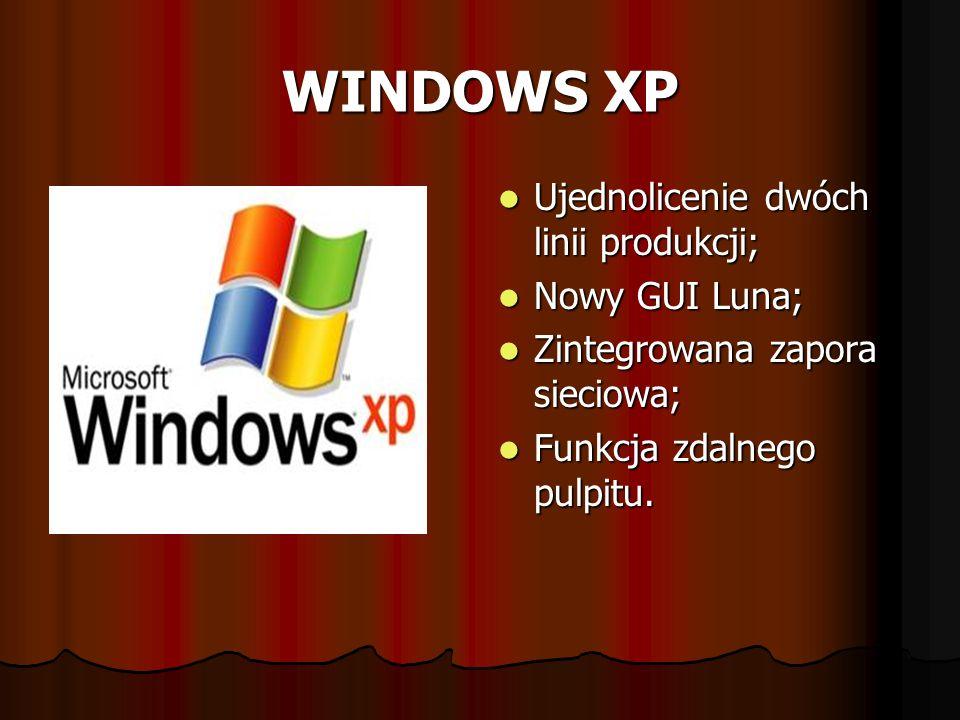 WINDOWS XP Ujednolicenie dwóch linii produkcji; Ujednolicenie dwóch linii produkcji; Nowy GUI Luna; Nowy GUI Luna; Zintegrowana zapora sieciowa; Zinte