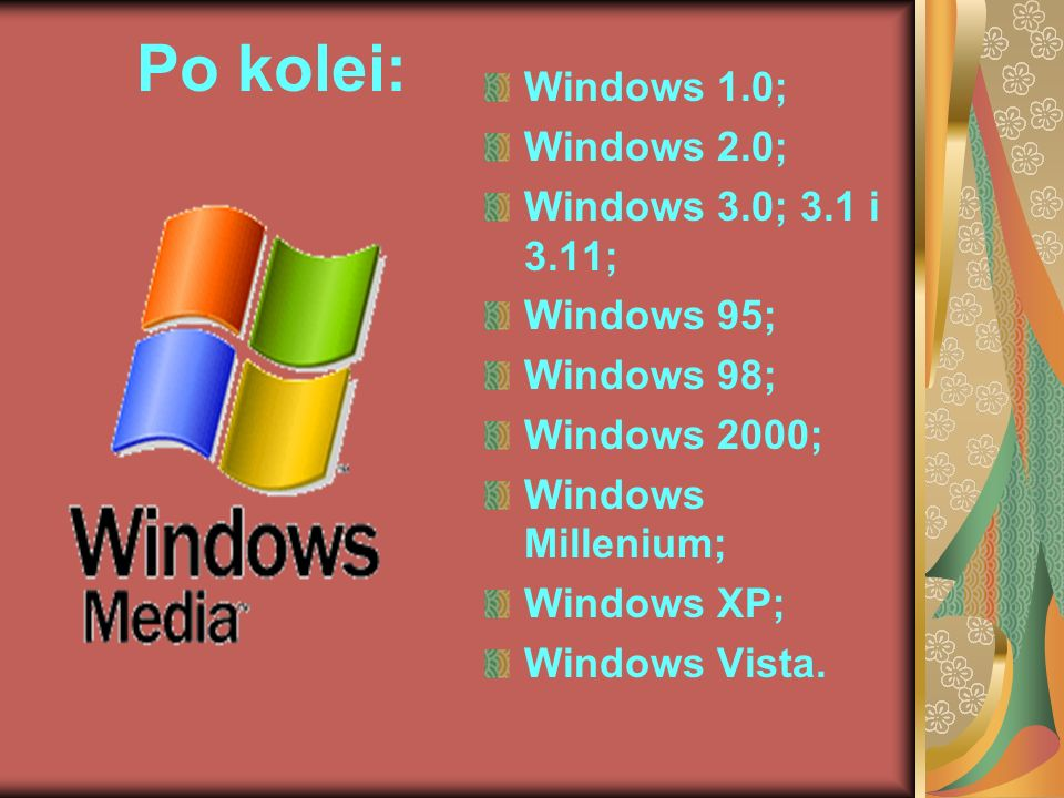 Po kolei: Windows 1.0; Windows 2.0; Windows 3.0; 3.1 i 3.11; Windows 95; Windows 98; Windows 2000; Windows Millenium; Windows XP; Windows Vista.