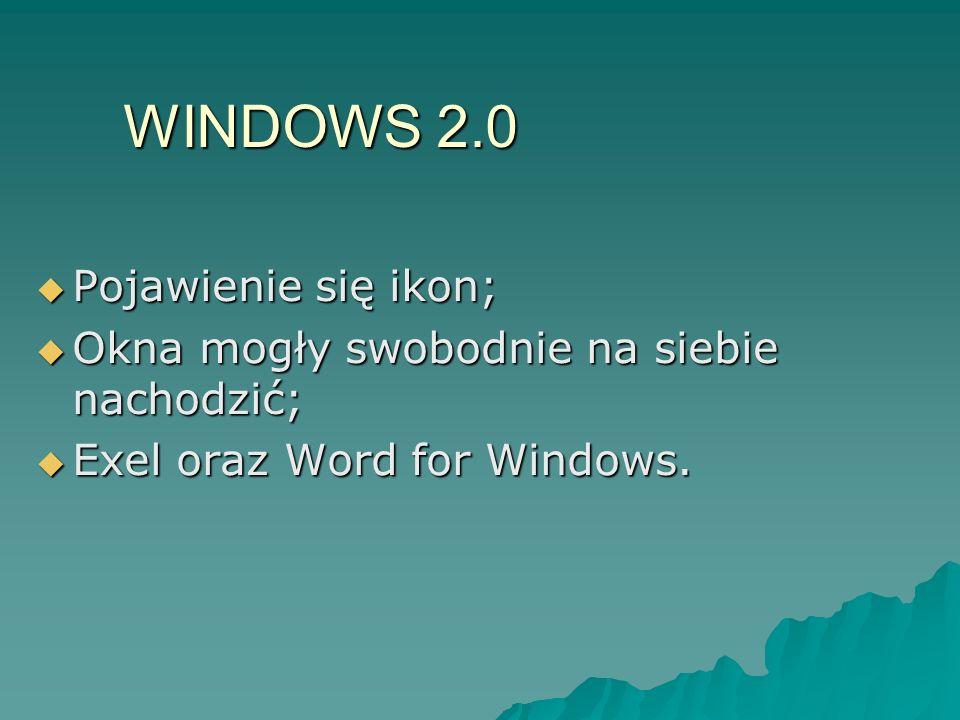 WINDOWS 2.0 Pojawienie się ikon; Pojawienie się ikon; Okna mogły swobodnie na siebie nachodzić; Okna mogły swobodnie na siebie nachodzić; Exel oraz Wo