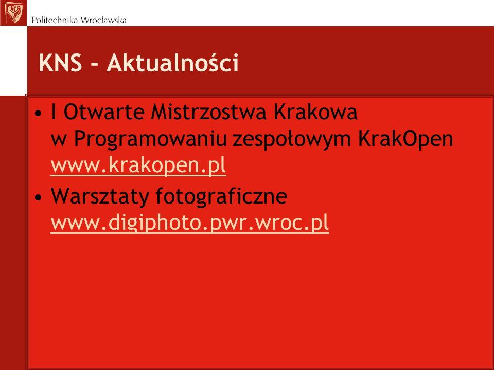 KNS - Aktualności I Otwarte Mistrzostwa Krakowa w Programowaniu zespołowym KrakOpen www.krakopen.pl www.krakopen.pl Warsztaty fotograficzne www.digiph