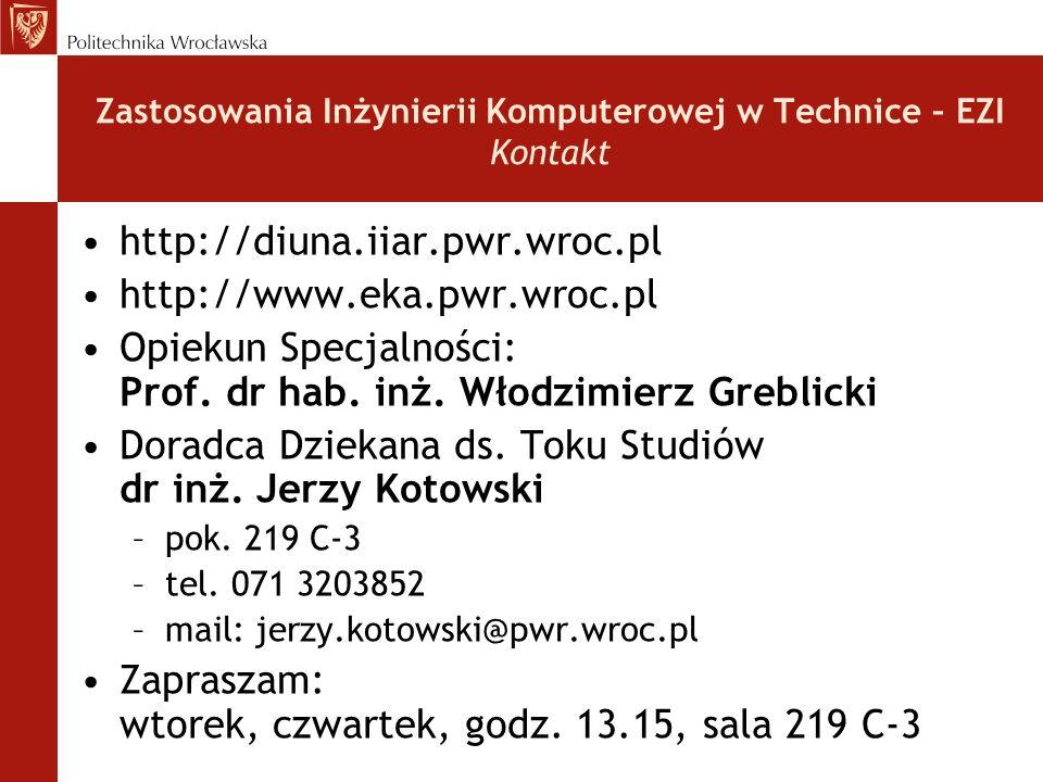 http://diuna.iiar.pwr.wroc.pl http://www.eka.pwr.wroc.pl Opiekun Specjalności: Prof. dr hab. inż. Włodzimierz Greblicki Doradca Dziekana ds. Toku Stud