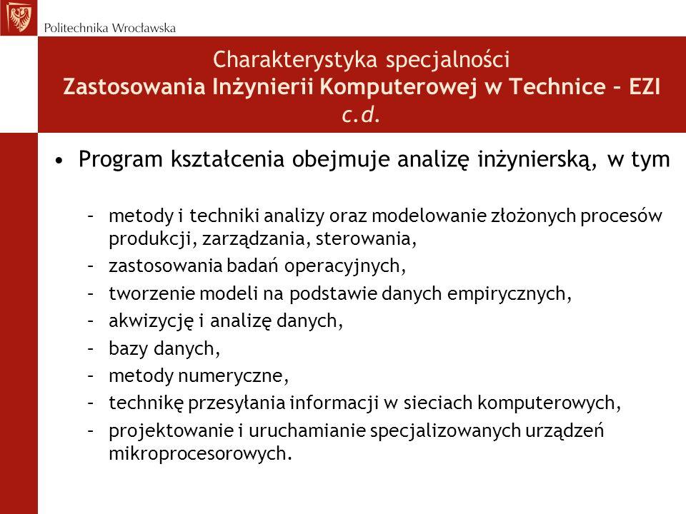 Charakterystyka specjalności Zastosowania Inżynierii Komputerowej w Technice – EZI c.d. Program kształcenia obejmuje analizę inżynierską, w tym –metod