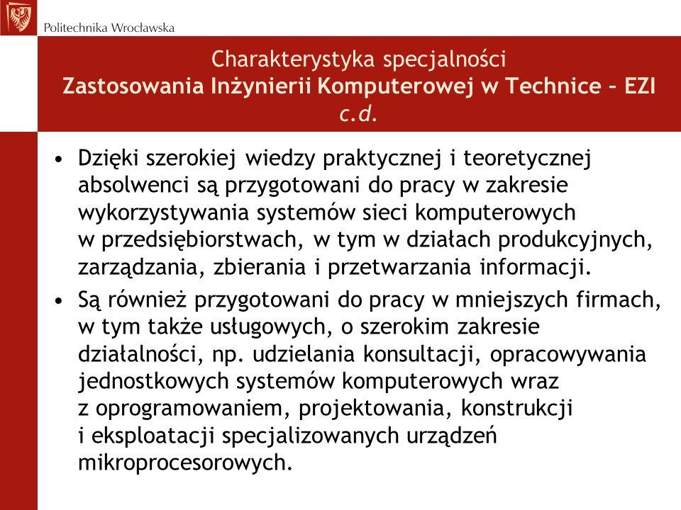 Charakterystyka specjalności Zastosowania Inżynierii Komputerowej w Technice – EZI c.d. Dzięki szerokiej wiedzy praktycznej i teoretycznej absolwenci