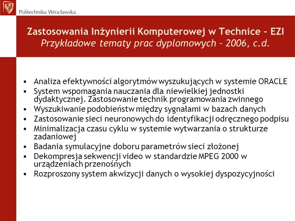 Zastosowania Inżynierii Komputerowej w Technice – EZI Przykładowe tematy prac dyplomowych – 2006, c.d. Analiza efektywności algorytmów wyszukujących w