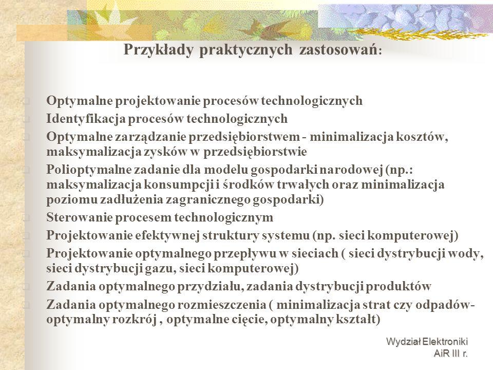 Wydział Elektroniki AiR III r. Optymalne projektowanie procesów technologicznych Identyfikacja procesów technologicznych Optymalne zarządzanie przedsi