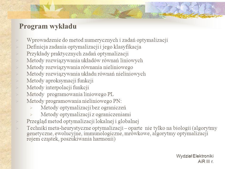 Wydział Elektroniki AiR III r.Literatura cz.