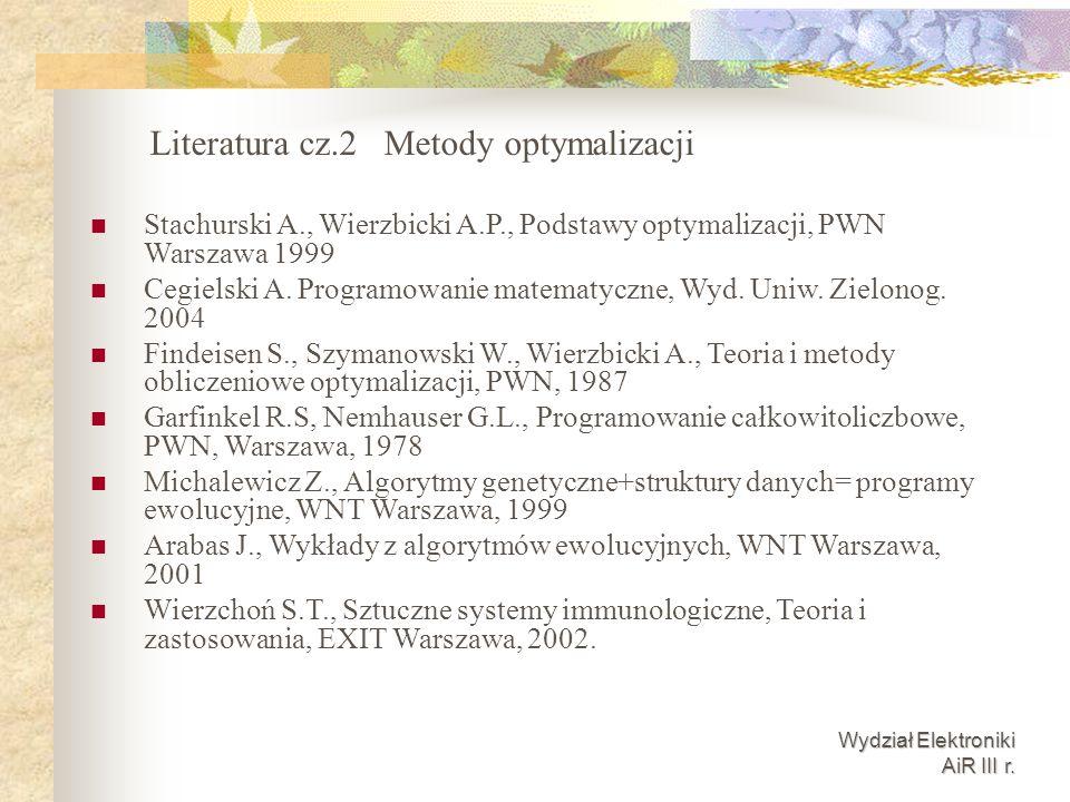 Wydział Elektroniki AiR III r. Stachurski A., Wierzbicki A.P., Podstawy optymalizacji, PWN Warszawa 1999 Cegielski A. Programowanie matematyczne, Wyd.