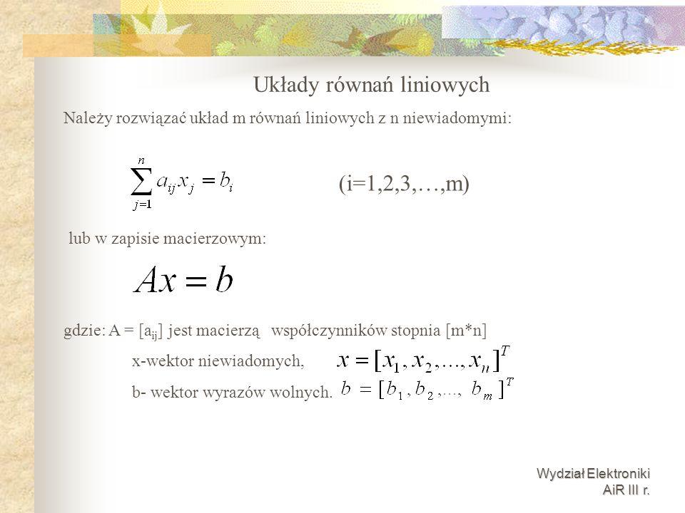 Wydział Elektroniki AiR III r. Układy równań liniowych Należy rozwiązać układ m równań liniowych z n niewiadomymi: (i=1,2,3,…,m) lub w zapisie macierz