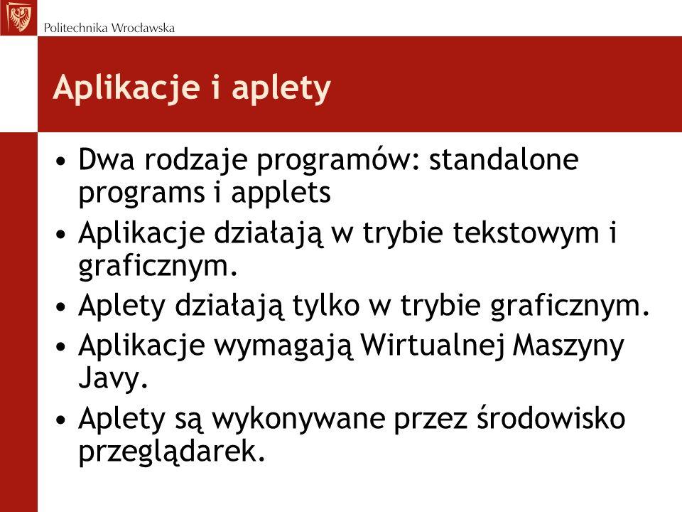 Aplikacje i aplety Dwa rodzaje programów: standalone programs i applets Aplikacje działają w trybie tekstowym i graficznym. Aplety działają tylko w tr
