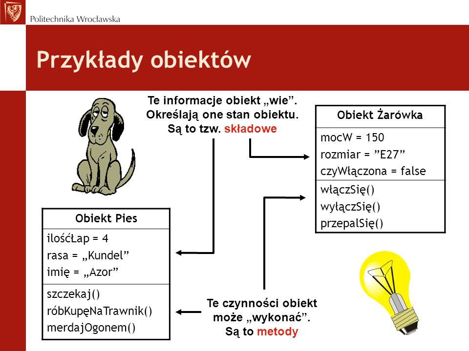 Przykłady obiektów Obiekt Pies ilośćŁap = 4 rasa = Kundel imię = Azor szczekaj() róbKupęNaTrawnik() merdajOgonem() Obiekt Żarówka mocW = 150 rozmiar =