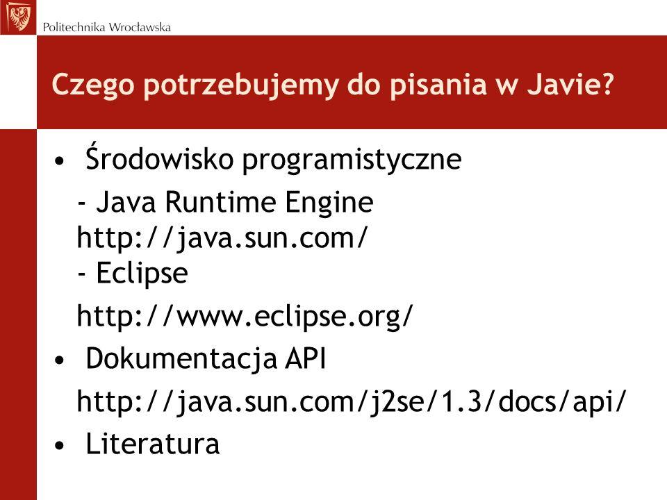 Czego potrzebujemy do pisania w Javie? Środowisko programistyczne - Java Runtime Engine http://java.sun.com/ - Eclipse http://www.eclipse.org/ Dokumen
