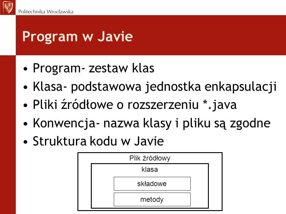 Program w Javie Program- zestaw klas Klasa- podstawowa jednostka enkapsulacji Pliki źródłowe o rozszerzeniu *.java Konwencja- nazwa klasy i pliku są z