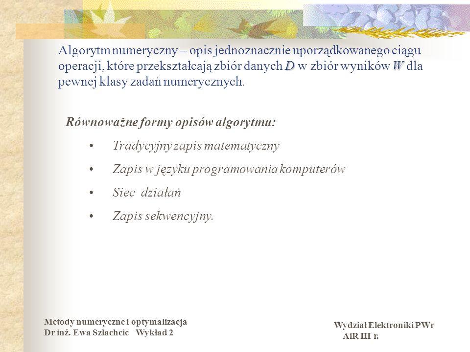 Wydział Elektroniki PWr AiR III r.Metody numeryczne i optymalizacja Dr inż.