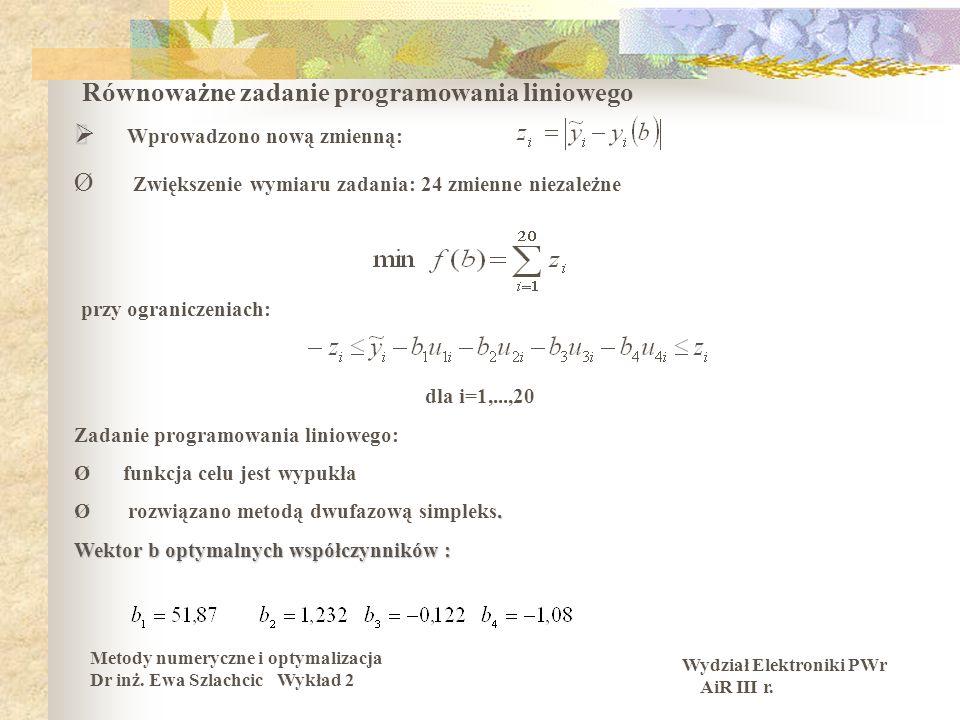 Wydział Elektroniki PWr AiR III r. Metody numeryczne i optymalizacja Dr inż. Ewa Szlachcic Wykład 2 Równoważne zadanie programowania liniowego Wprowad